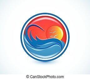 vagues, paradis tropical, plage, été, ensoleillé, logo