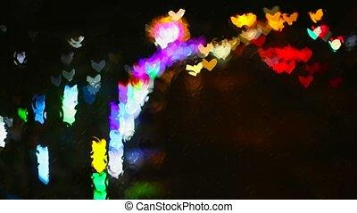 vagues, verre, arc-en-ciel, forme coeur, fenêtre, eau, reflété, plancher, dehors, rue, pluie, lumières