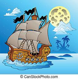 vaisseau, marine, vieux, nuit