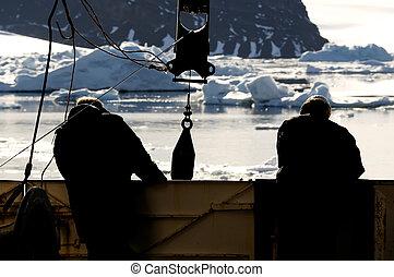 vaisseau, ouvriers, antarctique