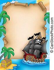 vaisseau, parchemin, pirate