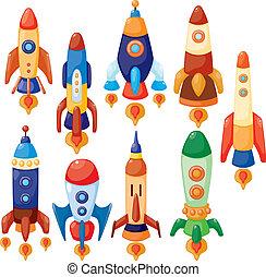 vaisseau spatial, dessin animé, icône