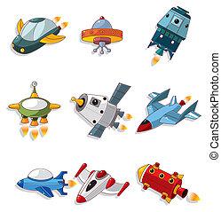 vaisseau spatial, ensemble, dessin animé, icône