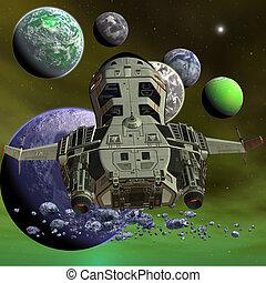vaisseau spatial, futuriste