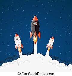vaisseau spatial, illustration, décollage