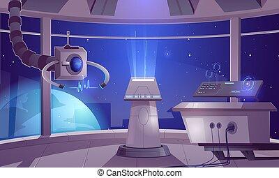 vaisseau spatial, intérieur, capitaine, cabine, centre, contrôle