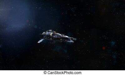 vaisseau spatial, loin, flyby, planète
