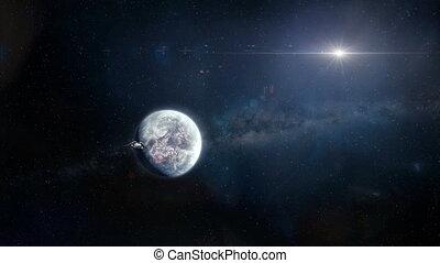 vaisseau spatial, partir, planète