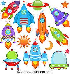 vaisseau spatial, vaisseau spatial, fusée, ovnis