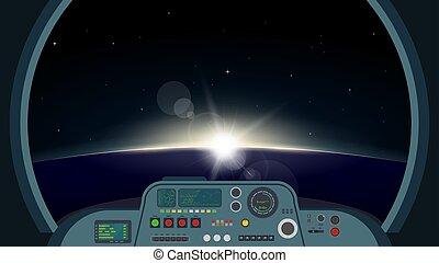 vaisseau spatial, vue, intérieur