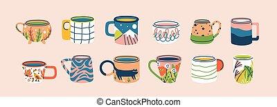 vaisselle, décoré, branché, plat, tasses, moderne, vecteur, boissons, remplissage, mignon, différent, poignée, coloré, boisson, éléments, conception, grandes tasses, illustration., ensemble, isolated., collection