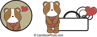valentin, coeur, étreinte, dessin animé, hamster