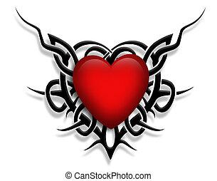 valentin, conception, coeur, tatouage