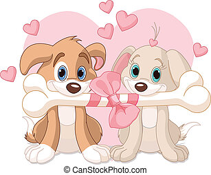 valentin, deux, chiens