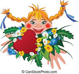 valentin, girl, illustration