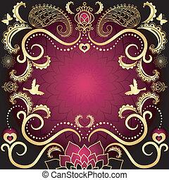 valentin, purple-gold, cadre, vendange
