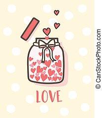 valentine, heureux, jour, intérieur, aimez coeurs, carte postale, carte, bouteille, valentines