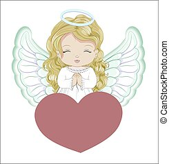 valentines, ange, carte, jour, coeur