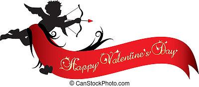 valentines, bannière, jour, heureux