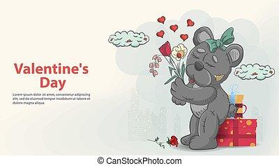 valentines, griffonnage, girl, dons, fleurs, jouet, teddy, conception, childrens, fond, ours, carte, jour, bouquet, elle, tenue, pattes, style, salutation