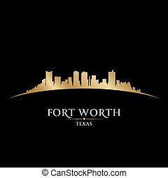 valeur, arrière-plan noir, horizon, fort, ville, silhouette, texas
