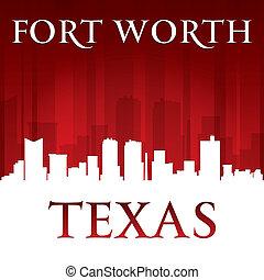 valeur, fond, horizon, fort, ville, rouges, silhouette, texas