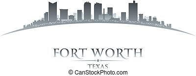 valeur, fond, horizon, fort, ville, texas, silhouette, blanc