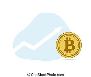 valeur, monnaie, haut, bitcoin, or, numérique, plat, taux, graphique, bleu, monnaie, fond, croissance, flèche, blanc, crypto