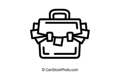 valise, corruption, argent, animation, icône