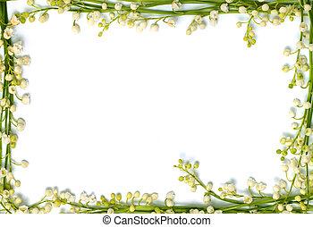 vallée, lis, cadre, isolé, papier, fond, horizontal, fleurs, frontière