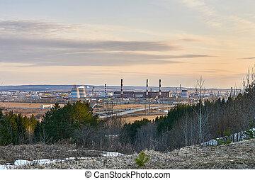 vallée, paysage, printemps, tôt, industriel, centrale électrique