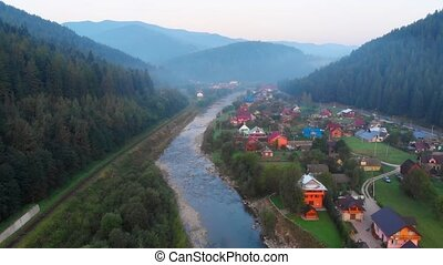 vallée, prut, rivière, rural, bourdon, yaremche, perspective