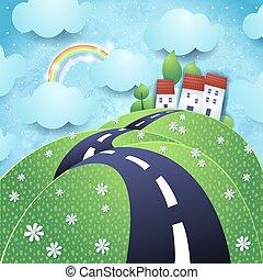 vallonné, vecteur, fantasme, paysage, route