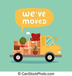 van., bulle, moving., ouvert, remplir, style, concept, carrosserie, dessin animé, camion, ve, maison, moved., boîtes, lettrage, illustration, vecteur, carton, intérieur., nous