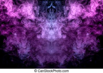 vape., résumé, rose claire, ground., modèle, ghost's, isolé, noir, oiseau blanc, mystique, tête, ondulé, fond, homme, apparence, forme, vapeur, fumée, symétrique, ou