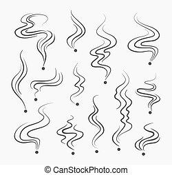 vapeurs, vecteur, odeur, fumer, signes, odeur, ligne, fumée, spirale, icons.