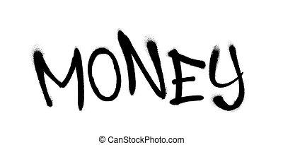 vaporisé, illustration., overspray, argent, sur, vecteur, graffiti, white., noir, police