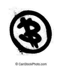 vaporisé, illustration., overspray, sur, bitcoin, vecteur, noir, white., graffiti, icône