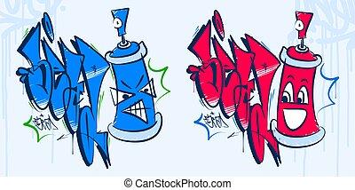 vaporisez boîte, graffiti, sead, hanche, résumé, mot, dessin animé, vecteur, illustration, art, houblon, style