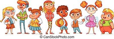 variété, mignon, enfants