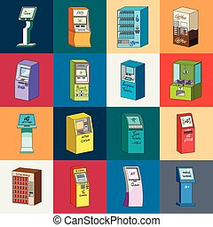 variété, vecteur, terminaux, distributeur billets banque, illustration., dessin animé, ensemble, appareil, toile, stockage, collection, commerce, symbole, icônes, design.