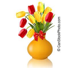 vase, fleurs ressort