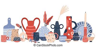 vases, blanc, bougeoirs, métier, porcelaine, studio., vecteur, poterie, isolé, fond, main, décor, produit, moderne, illustration., vaisselle, céramique, fait main, dessiné, handcraft