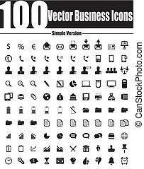 ve, icones affaires, simple, vecteur, 100