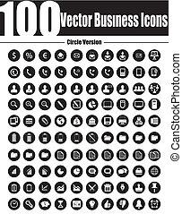 ve, icones affaires, vecteur, cercle, 100