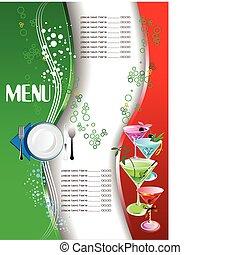 ve, menu., coloré, restaurant, (cafe)