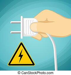 ve, plug., signe, voltage., avertissement, stockage, main humaine, électrique