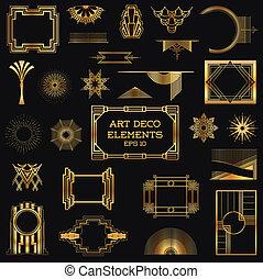 vecteur, éléments, art, vendange, -, deco, conception, cadres