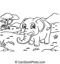 vecteur, éléphant, coloration, pages