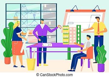 vecteur, équipe, fonctionnement, professionnel, ingénieurs, construction, project., architectes, croquis, gens, bâtiment, sur, métier, illustration., bureau